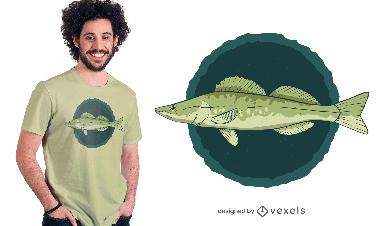 Diseño de camiseta de pez lucioperca.