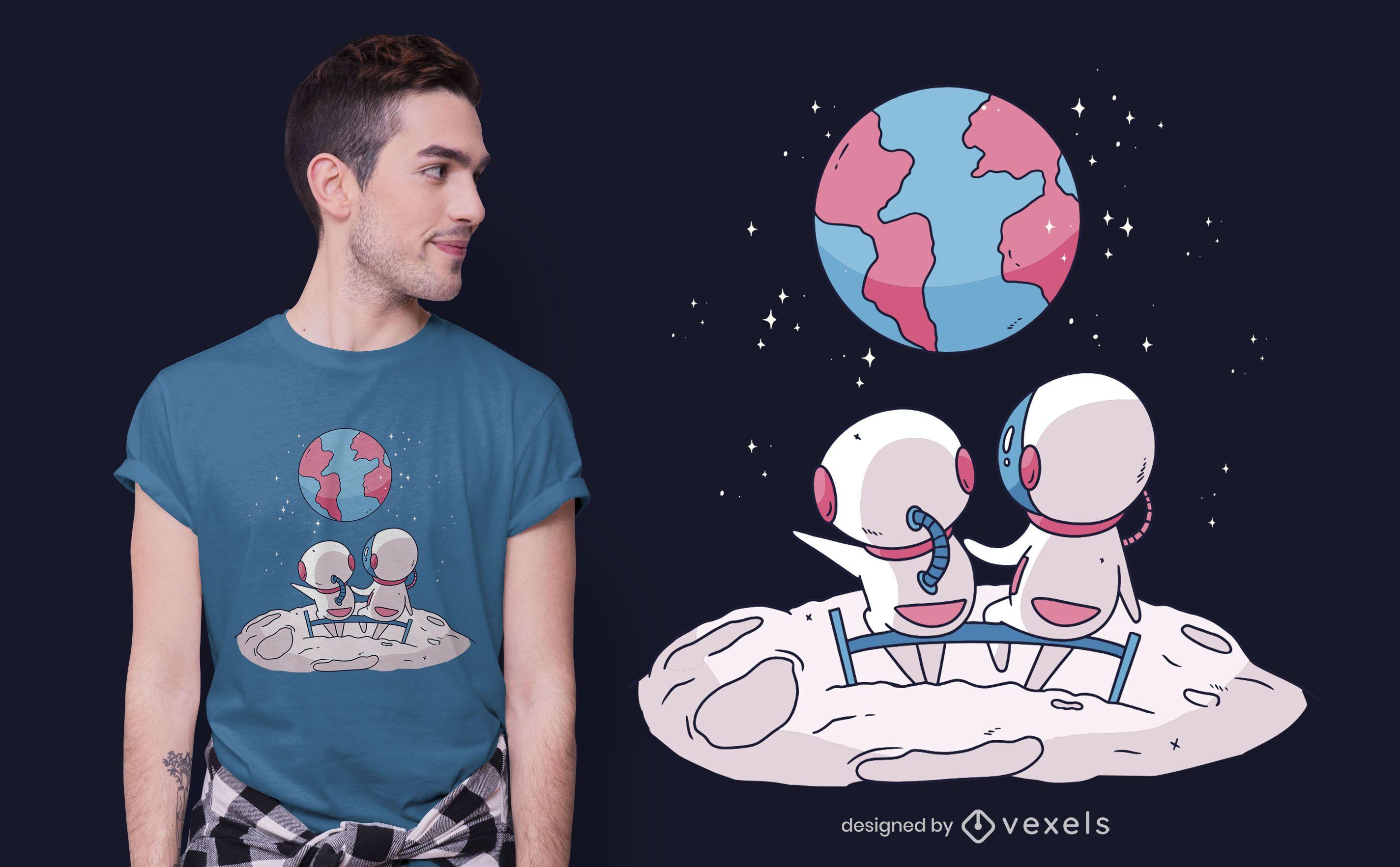 Cute astronauts t-shirt design
