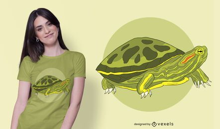 Diseño de camiseta con ilustración de tortuga