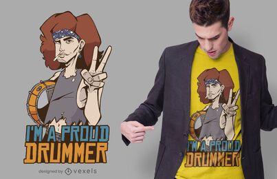 Diseño de camiseta de baterista orgulloso