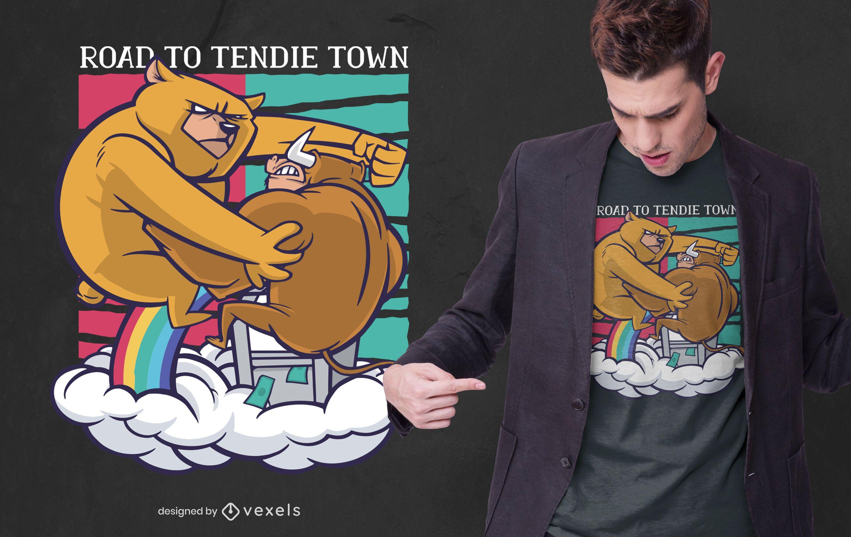 design de camiseta de urso lutando touro