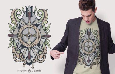 Diseño de camiseta con ilustración de puntos cardinales