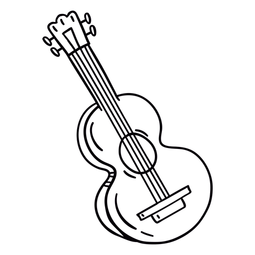 Acoustic guitar hand drawn outline