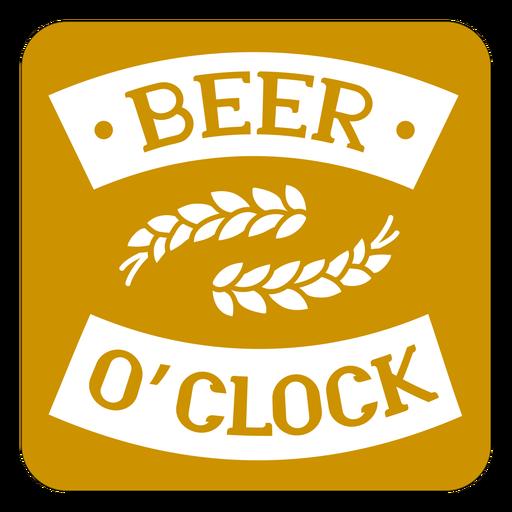Beer oclock brown square coaster design