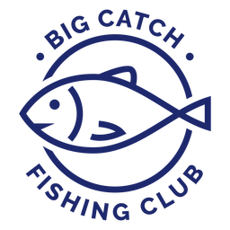 Big catch fishing club badge blue