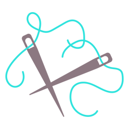 Agujas de tejer azul hilo plano icono