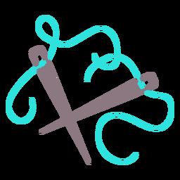 Blaue Stricknadeln fädeln flaches Symbol ein