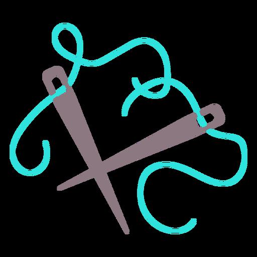 Blue knitting needles thread flat icon