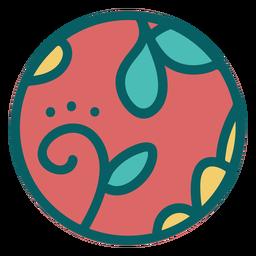 Brown floral design sphere flat