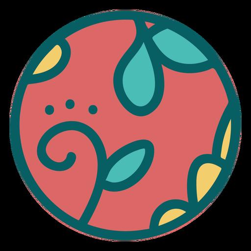 Esfera de diseño floral marrón plana