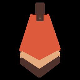 Pendiente de cuero pentágono en cascada plano