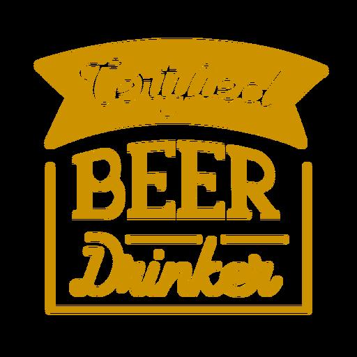 Certified beer drinker square coaster design Transparent PNG