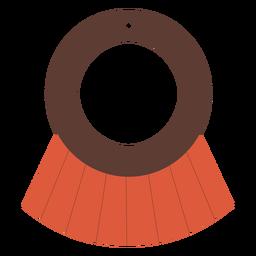 Pendientes planos de piel con borlas circulares