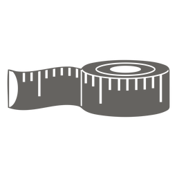 Fita métrica de pano cinza plana
