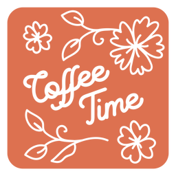 Coffee time floral square coaster design