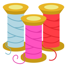 Color thread spools flat icon