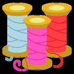 Icono plano de carretes de hilo de color