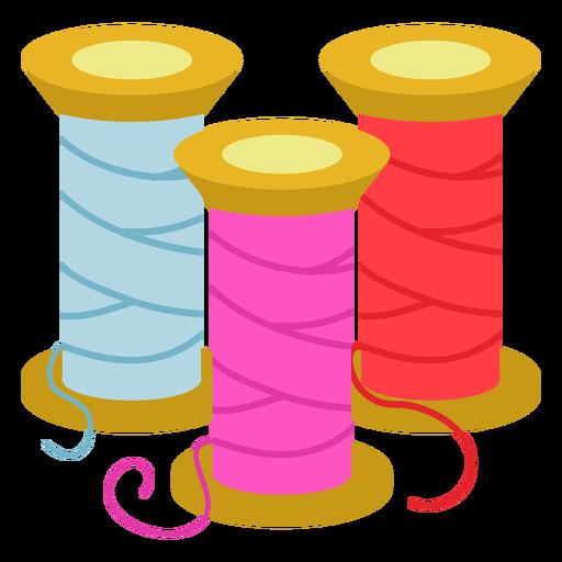 Color thread spools flat icon