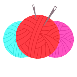 Color yarn balls needles flat icon