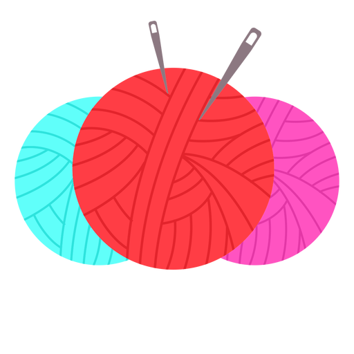 Color yarn balls needles flat icon Transparent PNG