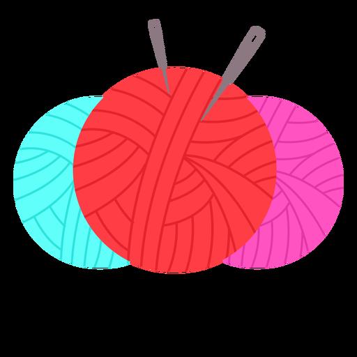 Color yarn balls needles flat icon