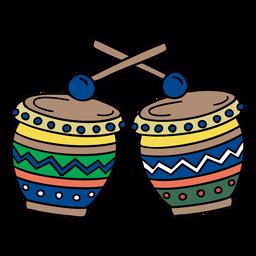 Colorful drum hand drawn symbol