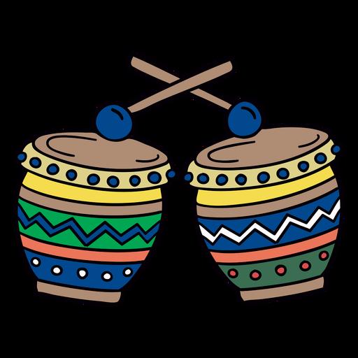 S?mbolo dibujado a mano colorido tambor