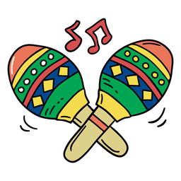 Colorful maracas hand drawn symbol
