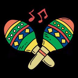 Maracas colorido símbolo dibujado a mano
