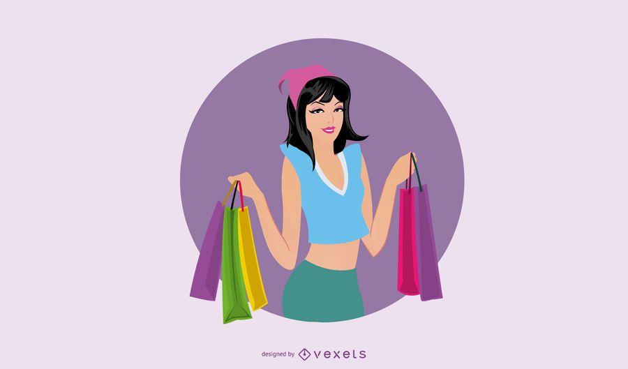 Ilustración de chica de compras