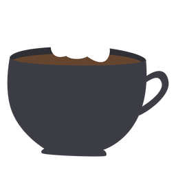 Cup coffee whip cream flat