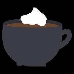 Xícara de café chicote creme plana