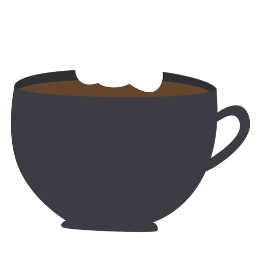 Taza de café con crema batida plana