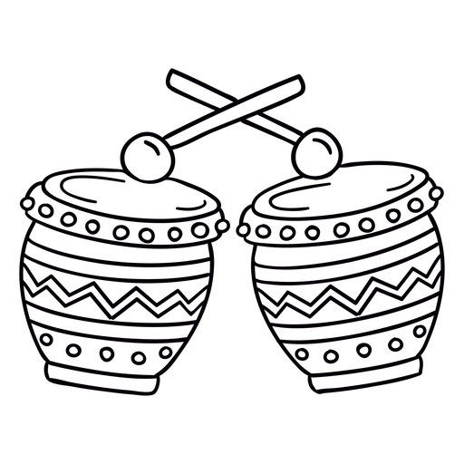 Contorno de símbolo dibujado a mano de tambor decorado