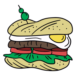 Egg sandwich hand drawn illustration