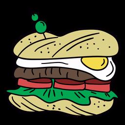 Sandwich de huevo dibujado a mano ilustración