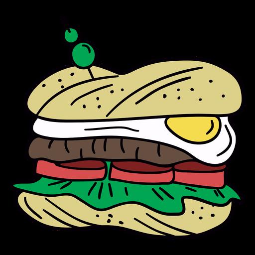 Egg sandwich hand drawn illustration