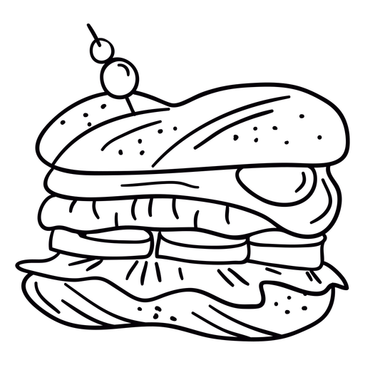 Egg sandwich hand drawn stroke