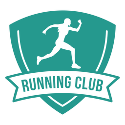 Female runner running club badge green