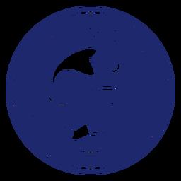 Distintivo de peixe de natação do clube de pesca azul