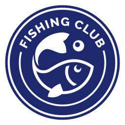 Fishing club swimming fish badge blue
