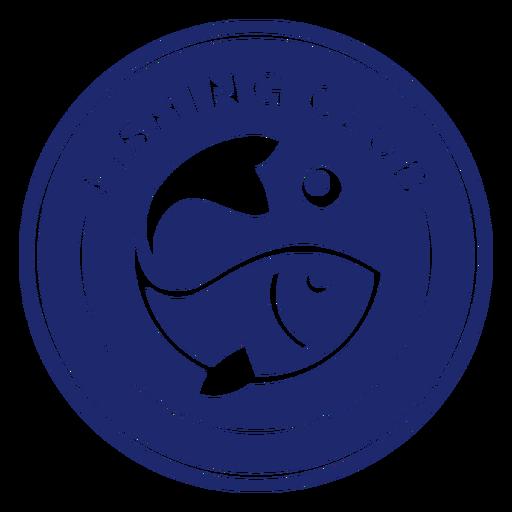 Fishing club swimming fish badge blue Transparent PNG