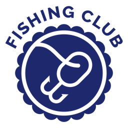 Fishing hook club badge blue