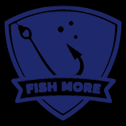 Fishing hook fish more badge blue