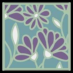 Design floral quadrado liso verde roxo