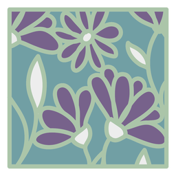 Floral design square flat green purple