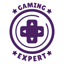 Círculo púrpura de insignia de experto en juegos