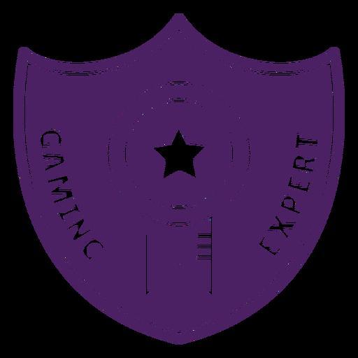 Emblema especialista em jogos roxo escudo Transparent PNG