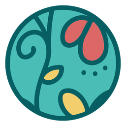 Green floral design sphere flat