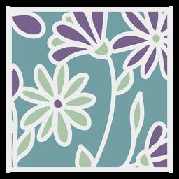 Margarida roxa verde design floral quadrado liso